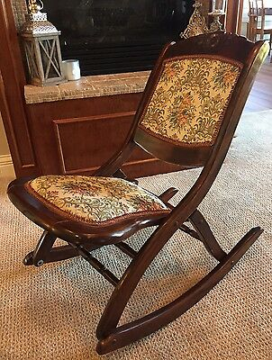 WOOD WOODEN FOLDING ROCKING CHAIR Floral TAPESTRY UPHOLSTERY Mahogany