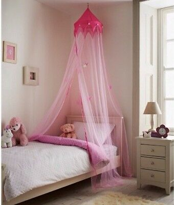 Pink Princess Bed Canopy Crown Stars Net Kids Girls Large