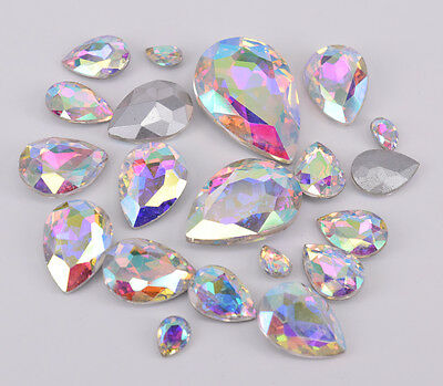 White AB Glass Rhinestone Tear Drop Jewels Crystal Applique Size Selection