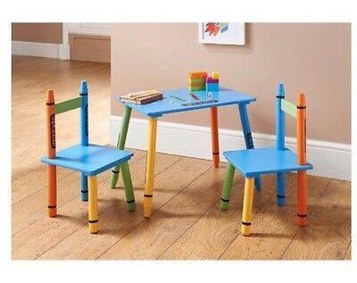 Kids Wooden Colourful Table and Chairs Set Fun Crayon Style Blue Solid Wood NEW