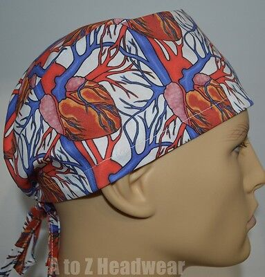 Anatomy of the Heart TRADITIONAL Tie Back Surgical Scrub Cap Hat