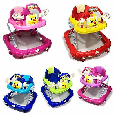 Baby Walker First Steps Activity Bouncer Musical Toy Push Along Pink Ride Smiley