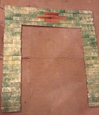 COMPLETE SET VINTAGE VICTORIAN ANTIQUE FIREPLACE TILE MANTLE ART TILES Green