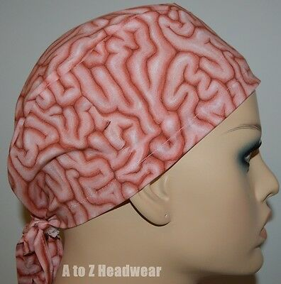 Natural Pink Brains TRADITIONAL Tie Back Surgical Scrub Cap Hat