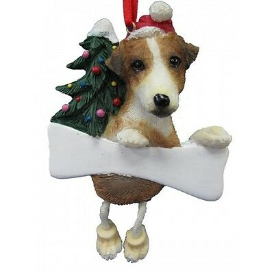 Jack Russell Terrier Dangling Wobbly Leg Dog Bone Christmas Ornament