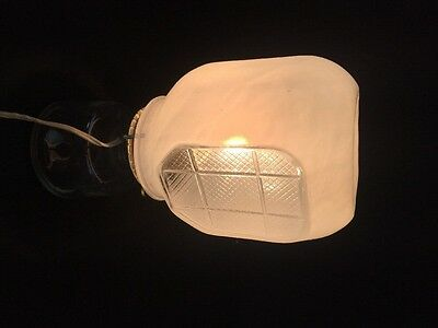Vintage Frosted Clear Glass Globe Art Deco Bathroom Vanity Light Fixture Shade