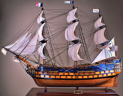 "ROYAL LOUIS 42"" wood model ship large scale sailing tall French boat"