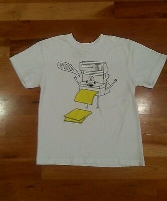 "Youth S Large Brock Davis ""SAY CHEESE"" Polaroid Camera White Graphic T-Shirt Tee"