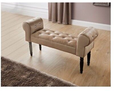 Glitz Mink Diamante Buttoned Upholstered Chaise Longue