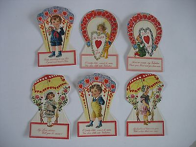 Vintage Lot Of 6 Valentine's Day Cards Fold out /Stand Up NOS not used