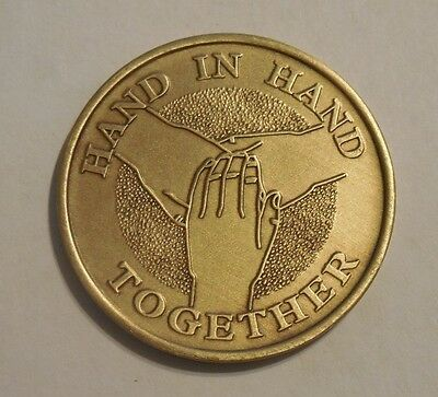 AA Bronze HAND IN HAND TOGETHER  Chip Coin Token Medallion