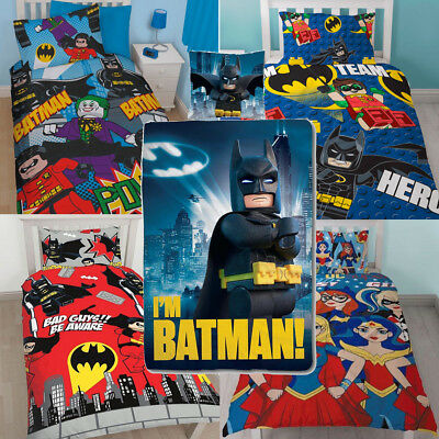 REVERSIBLE Super Hero DC Comic Lego Batman Duvet Cover Bedding Set Kids Boy Girl