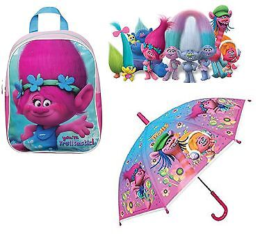 Dreamworks Trolls Kids Childrens 2 In 1 Junior Backpack & Umbrella Brolly Set