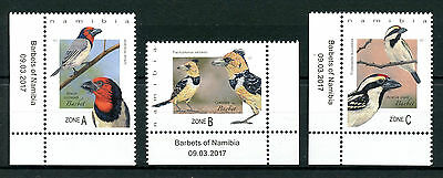 Namibia 2017 MNH Barbets of Namibia 3v Set Birds Stamps