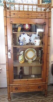 19th Century Antique Faux Bamboo Armoire Display Cabinet Drawer Aesthetic Period