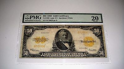 1922 $50 Fifty Dollar Gold Certificate PMG 20 Very Fine Fr# 1200