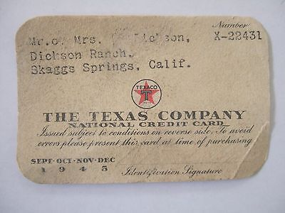 Vintage 1945 The Texas Company Paper Credit Card