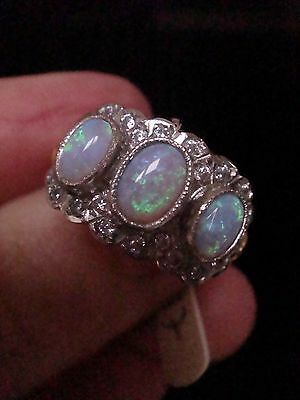 Edwardian Ornate 9Ct Gold On Silver Fancy 3 Stone Opal And Cz Cluster Ring