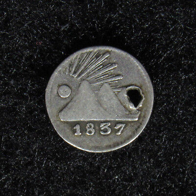 1837G Central American Republic 1/4 Real HOLED #11