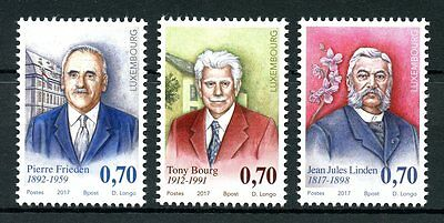 Luxembourg 2017 MNH Personalities Pierre Frieden Tony Bourg 3v Set People Stamps