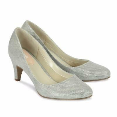 New Affection Silver formal women's mid heel Shoes Paradox London