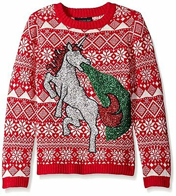 NEW Boys Glitter Vomit Unicorn Ugly Christmas Sweater Sparkles Fair Isle Red