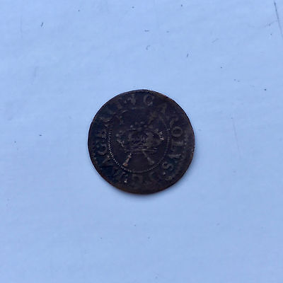 Copper Farthing Coin King Charles I Good Fine Grade