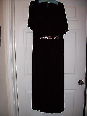 Faded Glory Long Black Dress With Embellishments At Waist Back Ties Size 16W