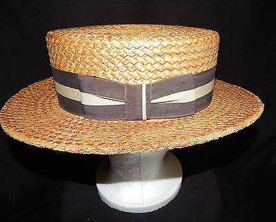 Vintage Men's Boater Skimmer Straw Hat by MALORRY, 5th Ave, New York Size 7