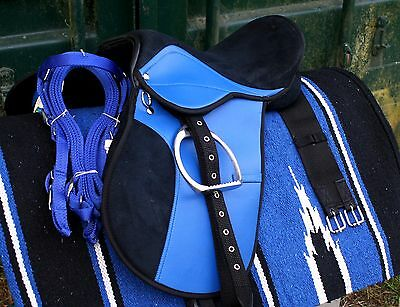 all purpose 14 inch Blue saddle fully mounted +bridle,Navaho,bit,girth.