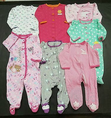 Baby Girls Lot Of 7 Pajamas Size 9 Months Carter's++Spring/summer