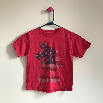 Disney Kids Unisex Red Mickey Mouse USA Flag Short Sleeve T-shirt Sz XS
