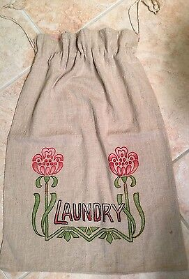 Stunning Antique Arts&craft Era Classic Embroidery  Coarse Linen Laundry Bag