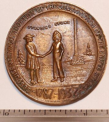 1937 Sesquicentennial Founding of Huntingdon Brass Medal . SQ901