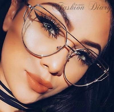 Clear Lens Oversized Cat Eye Hot Fashion Trendy Glasses Metal Bar Silver Frame