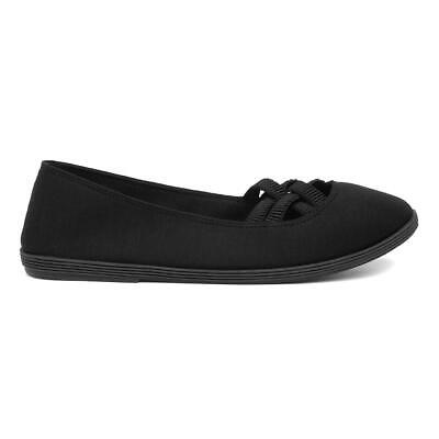 Womens Canvas Shoe Slip On Canvas Shoe in Black by Lilley