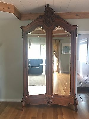 French Louis XV Beveled Mirror Two Door Armoire