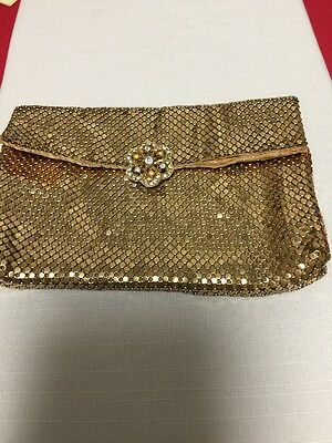 Whiting & Davis Vintage Usa Gold Mesh Small Clutch Evening Bag Purse