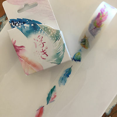Washi Tape Miss Time Boxed Feathers 15Mm X 8Mtr Roll Plan Scrap Craft Wrap