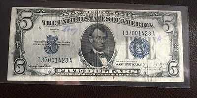 $5 Note  Blue Seal Silver Certificate -  1934D -Circulated
