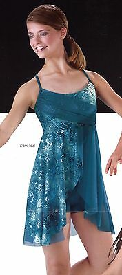 TWO DUET teal lyrical contemporary dance costume dresses 1 MC *NEW 1 LC *Used