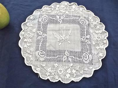 """Antique Hand Embroidered 9"""" Round White Rice Linen Doily Roses & Butterflies"""