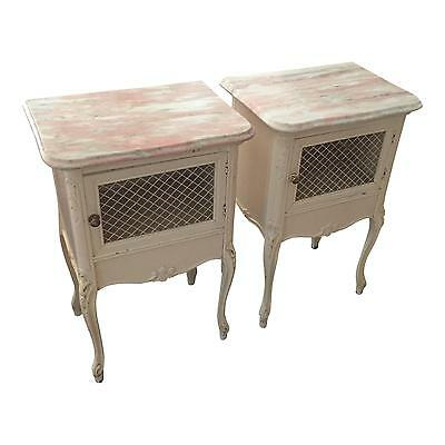 Antique French Pink Marble Night Stands-Pair
