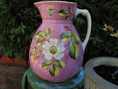 HUGE ANTIQUE VICTORIAN ENGLISH WASH JUG c1880 WILD DOG ROSE FRENCH PINK GROUND