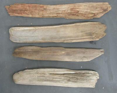 "Lot of 4 Medium Flat Driftwood Pieces For Signs 2.75""-3.75"" x 18""-22"" SBM4-2"