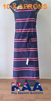 10 Butchers Aprons Bib Apron Navy/Red 105x80cm MADE IN KINGAROY QLD Butcher/Chef