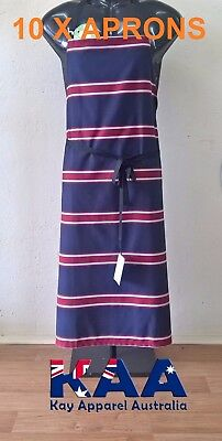 10 X Butchers Aprons Bib Apron Navy/Red 105x80cm, Smoking, American BBQ