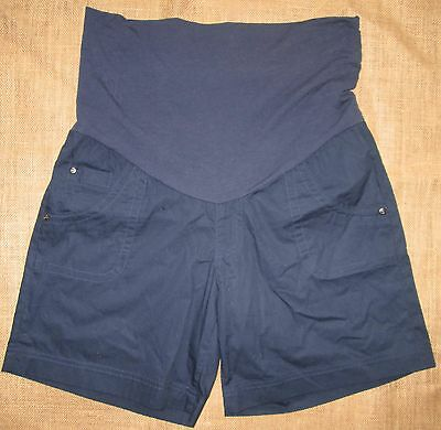 Maternity Ladies Short Shorts Navy Blue Poplin Cotton Summer Pregnancy Sz 18 NEW