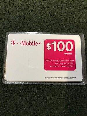 T-MOBILE $100 PREPAID REFILL CARD, New Unscratched, Fast Mail Delivery