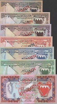 Bahrain 100 Fils to 20 Dinars ND. 1964  P 1 to P 6 & P 10 Uncirculated Banknote